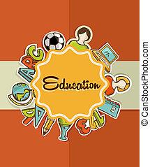 教育, 標簽, 回到學校, icons.