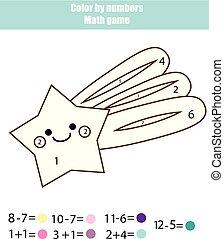 教育, 着色, worksheet., 色, game., ページ, printable, 数, 数学, actvity., 星, 落ちる, 子供