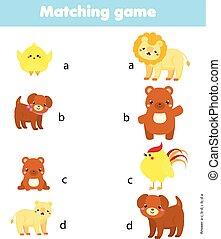 教育, 親, game., 似合う, 動物, 活動, 子供, マッチ, baby.