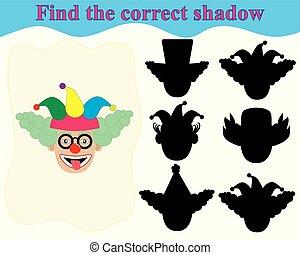 教育, clown's, face., 正しい, ゲーム, children., 影, ファインド