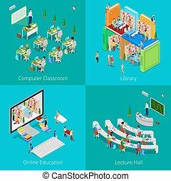 教育, concept., ベクトル, 大学, オンラインで, 教育, 教室, 大学, コンピュータ, hall., ...