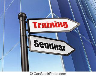 教育, concept:, 印, 訓練, セミナー, 上に, 建物, 背景