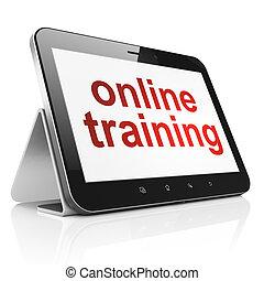 教育, concept:, 在網上, 訓練, 上, 小塊pc, 電腦
