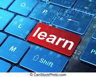 教育, concept:, 学びなさい, 上に, コンピュータキーボード, 背景
