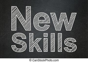 教育, concept:, 新, 技能, 上, 黑板, 背景
