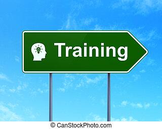 教育, concept:, 訓練, 以及, 頭, 由于, 燈泡, 上, 路
