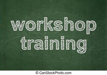 教育, concept:, 車間, 訓練, 上, 黑板, 背景