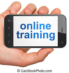教育, concept:, smartphone, 由于, 在網上, 訓練