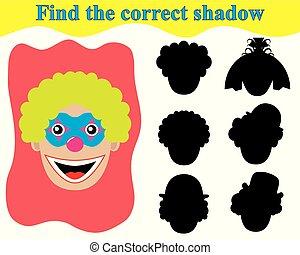 教育, face., 正しい, ゲーム, children., 影, clown's, ファインド