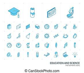教育, icons., ベクトル, 線, 勉強, 3d, 等大