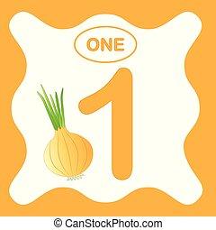 教育, (one), 野菜, カード, 数1, ベクトル, mathematics., 勉強, 数える, illustration.