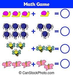 教育, worksheet, イラスト, ゲーム, ベクトル, 減法, 勉強, children., 数学, activity., 数える, 子供