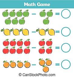 教育, worksheet, ゲーム, 減法, 勉強, 活動, children., 数学, 数える, 子供