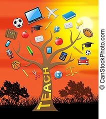 教, 樹, 意味著, 給, 課, 3d, 插圖