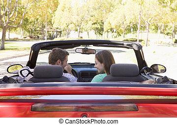 敞篷車 汽車, 微笑, 夫婦