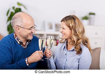 敬酒, 夫婦, 看, 當時, 其他, 每一個, 香檳酒長笛