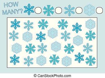 数えなさい, 教育, illustration., snowflakes., 多数, いかに, ゲーム, ベクトル, kids.