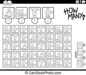 数える, ゲーム, 動物, いかに, 色, ページ, 多数, 本