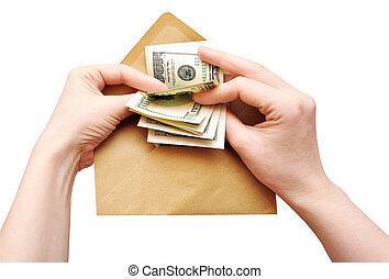 数える, 封筒, 現金, 手