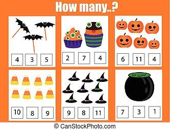 数える, 教育, objects., ゲーム, 主題, 子供, いかに, 子供, ハロウィーン, 多数, activity.