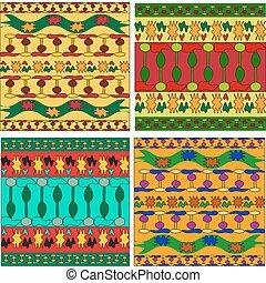 数字, セット, 装飾, アフリカ, 幾何学的