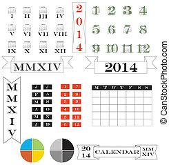 数字, ローマ人, 要素, カレンダー, 2014