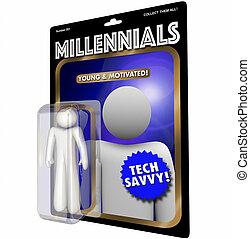 数字, 世代, イラスト, 青年, millennials, 行動, 新しい, 3d