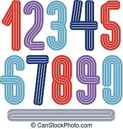 数字, 使用, 作られた, コレクション, ナイトクラブ, ファンキーである, ベクトル, デザイン, 高い, advertising., ロゴ, ストライプ, 平行