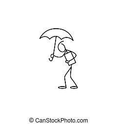 数字, 傘, スティック, 保有物, 人