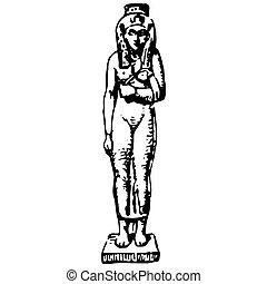 数字, 型, エジプト人, 女, 古代, 彫版