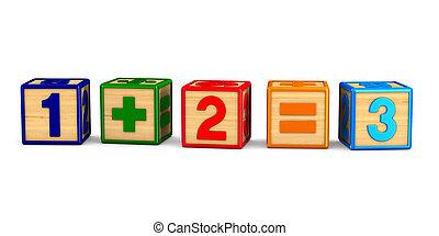 数字, 描述, 隔离, 背景。, 白色, 块, 3d