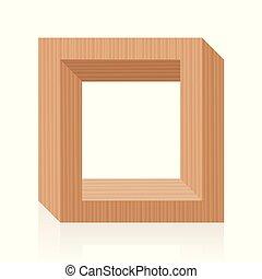 数字, 木製のフレーム, 光学, 不可能, 錯覚