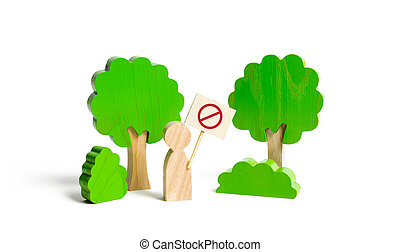 数字, movement., 抗議, 緑, forest., 森林, ポスター, 自然, 伐採, 保護者, 保存, 予備, environment., 人, pollution., ショー