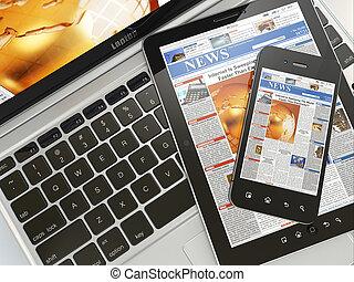数字, news., 笔记本电脑, 移动电话, 同时,, 数字牌子, pc