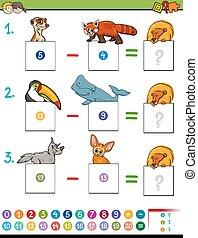数学, かわいい, ゲーム, 動物, 減法