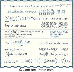 数学, シンボル, 手紙, -, 数, 手書き