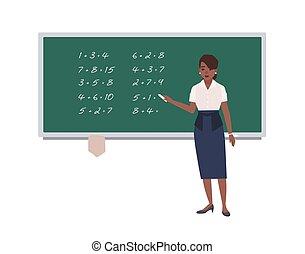 数学, 女, illustration., 漫画, 緑の白, 特徴, 隔離された, 執筆, バックグラウンド。, アメリカ人, ベクトル, mathematics., メスのアフリカ人, chalkboard., 教授, 表現, 教師, 数学, 幸せ