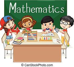数学, 学校の 子供, クラス, 主題