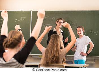 数学, 教師, 地位, の前, 生徒, だれか, ありなさい, 井戸, 準備された