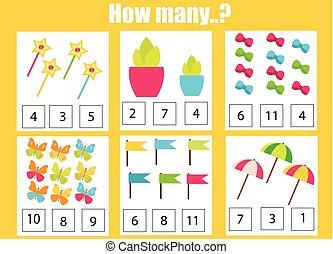 数学, 数える, 教育, オブジェクト, ゲーム, 仕事, 子供, いかに, 子供, 多数, activity.