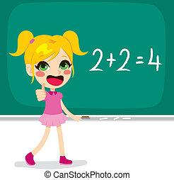 数学, 計算, 女の子, 解決