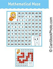 数学, 面白い, page., 教育, worksheet., labyrinth., 色, 困惑, 成長, なぞ, 漫画, ゲーム, ベクトル, イラスト, 活動, children., preschool., maze., style., kids.
