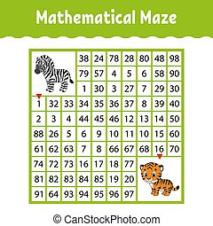 数学, page., worksheet., 色, 困惑, 論理名, 教育, style., 面白い, labyrinth., イラスト, ゲーム, children., maze., 漫画, kids., preschool., 成長, conundrum., なぞ, ベクトル, 活動