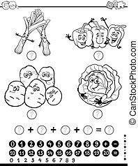 数学, worksheet, 着色, ページ, 活動
