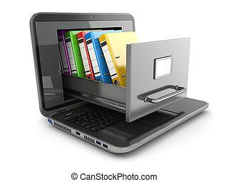数据, storage., 笔记本电脑, 同时,, 文件柜橱, 带, 圆环, binders.