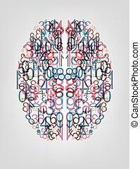 数, バックグラウンド。, デジタル, 脳
