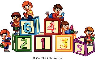 数, ブロック, 子供, 読む本