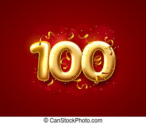 数, ベクトル, 100th, balloons., お祝い, 式, 風船