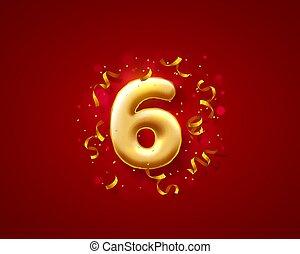 数, ベクトル, balloons., お祝い, 式, 風船, 第6