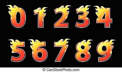 数, 火, ロゴ, design.